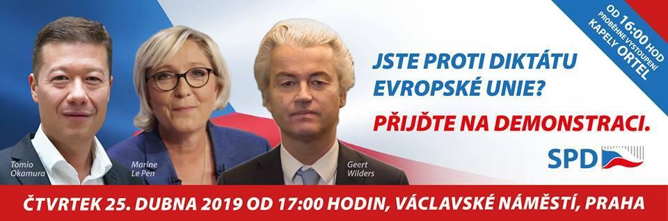 Demonstrace SPD proti diktátu Evropské unie – 25. dubna 2019